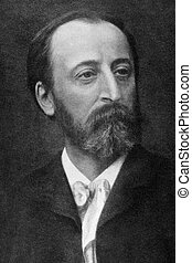 """Camille Saint-Saens (1835-1921) on engraving from 1908. French late-Romantic composer, organist, conductor and pianist. Engraved by unknown artist and published in """"The world's best music, famous songs. Volume 8"""", by The University Society, New York,1908."""