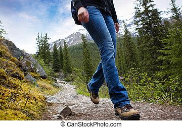 caminata, detalle, en, montañas
