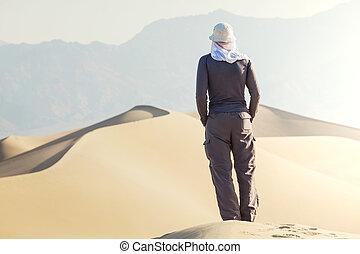 caminata, en, desierto