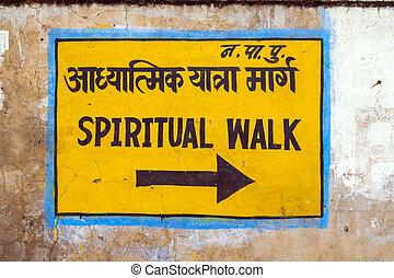 caminata, espiritual, señal, pared