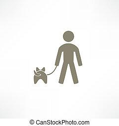 caminata, icono de perro