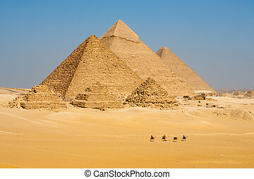 caminata, línea, camellos, todos, pirámides