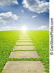 caminata, manera, a, el, sol, y azul, cielo