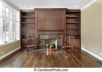 caminetto, biblioteca