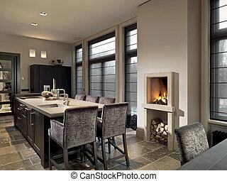 Pietra, caminetto, cucina. Casa, pietra, caminetto, lusso,... foto d ...