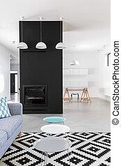 caminetto, minimalista, nero, stanza, vivente