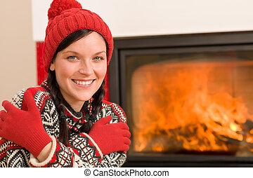caminetto, scaldata, donna felice, inverno, casa