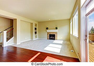 caminetto, stanza, casa, vivente, vuoto, interior.