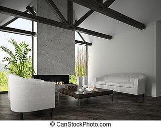 caminetto, stanza, interno, 3d, vivente, poltrone