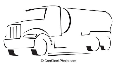 caminhão água, ilustração, vetorial