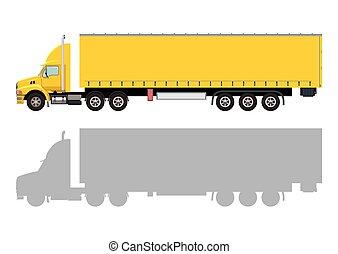 caminhão, amarela, reboque