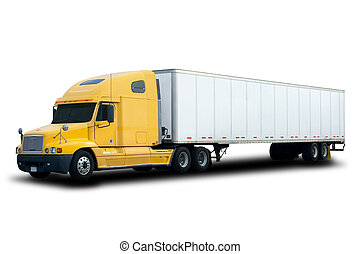 caminhão, amarela, semi