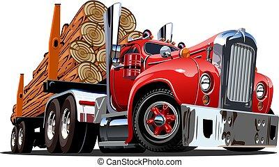 caminhão anotando, caricatura, retro