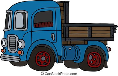 caminhão, antigas, azul