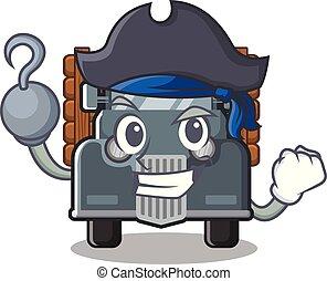 caminhão, antigas, isolado, pirata, caricatura