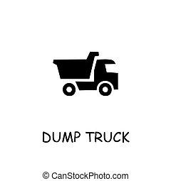 caminhão, apartamento, vetorial, ícone, entulho