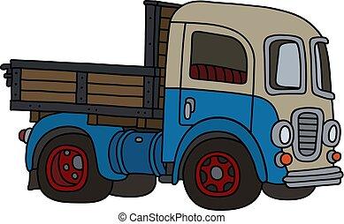 caminhão, azul, engraçado, creme, antigas