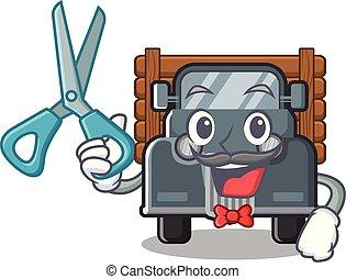 caminhão, barbeiro, antigas, isolado, caricatura