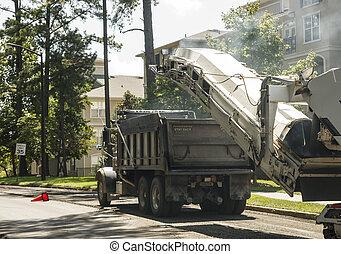 caminhão basculante, em, construção estrada, local