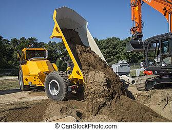 caminhão basculante, em, local construção