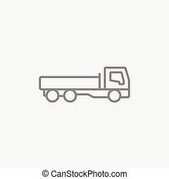 caminhão basculante, linha, icon.