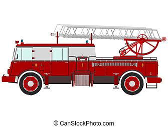 caminhão bombeiros, retro