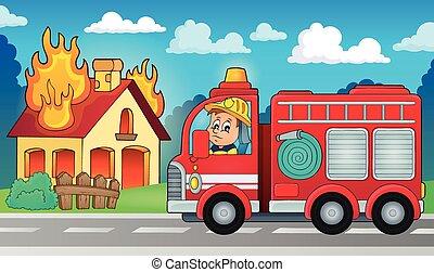 caminhão bombeiros, tema, 5, imagem