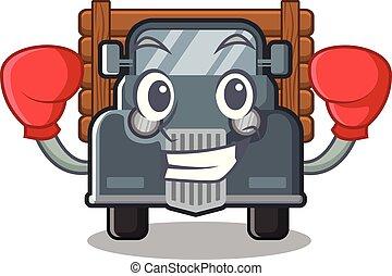 caminhão, boxe, antigas, isolado, caricatura