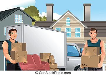 caminhão, caixas, homens, em movimento