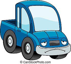 caminhão camionete, caricatura, triste