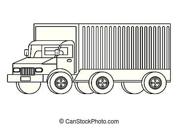caminhão carga, caricatura, transporte, veículo