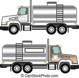 caminhão carga, cisterna, líquido