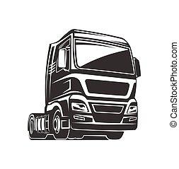 caminhão carga, frete, modelo, logotipo