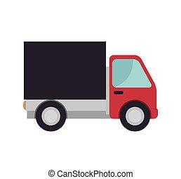 caminhão carga, vermelho