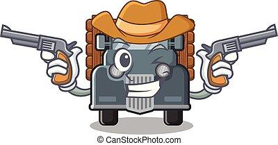 caminhão, caricatura, antigas, isolado, boiadeiro