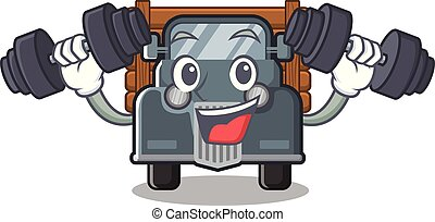 caminhão, caricatura, antigas, isolado, condicão física