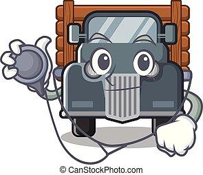 caminhão, caricatura, antigas, isolado, doutor
