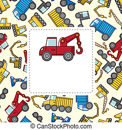 caminhão, caricatura, cartão
