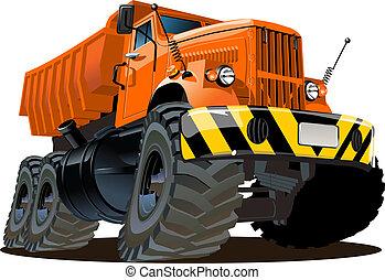caminhão, caricatura, entulho
