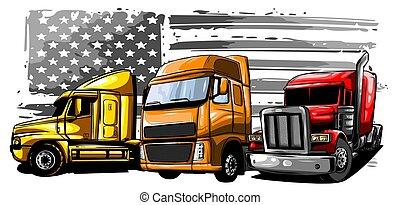 caminhão, caricatura, ilustração, vetorial, semi, desenho, arte