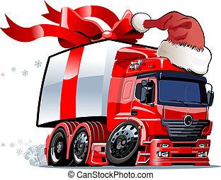 caminhão, caricatura, natal