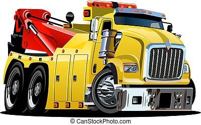 caminhão, caricatura, reboque
