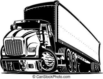 caminhão, caricatura, semi