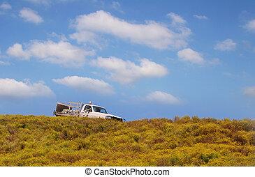 caminhão, colina