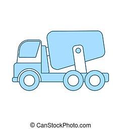 caminhão, concreto, ícone, misturador