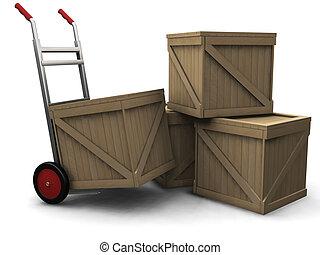 caminhão, crates, mão
