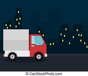 caminhão, desenho, vermelho