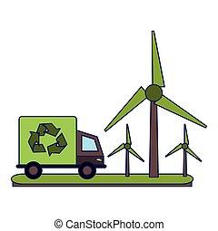 caminhão, ecologia, turbinas, vento