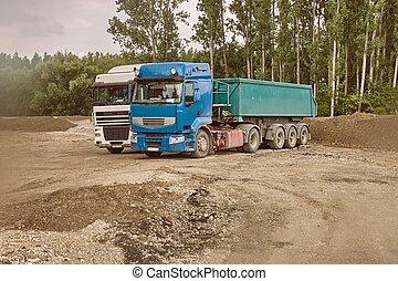 caminhão, em, local construção