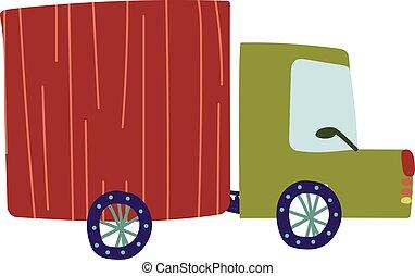 caminhão, entrega, camião carga, caricatura, vetorial, ilustração